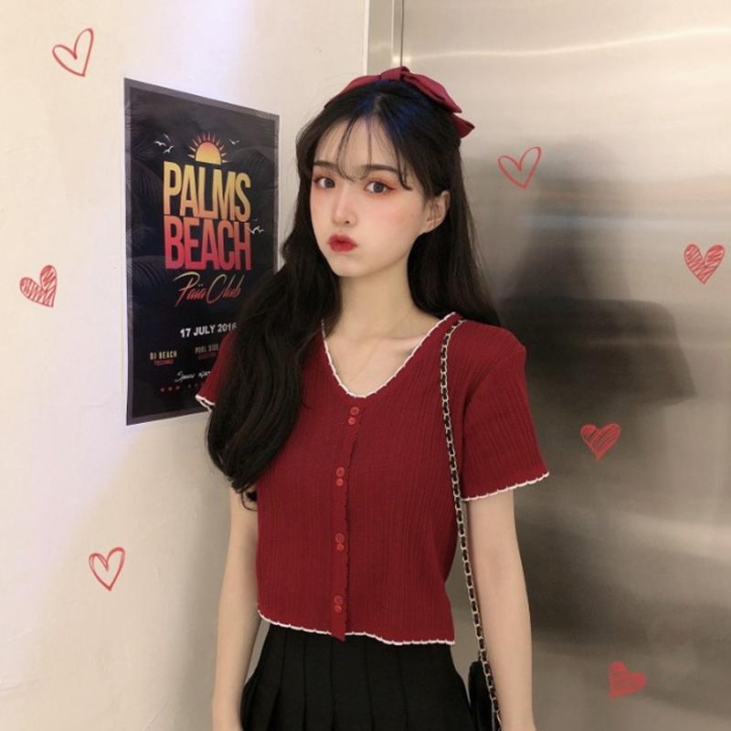 网红V领短袖T恤女装夏季2020新款韩版修身短款针织打底衫高腰上衣图片