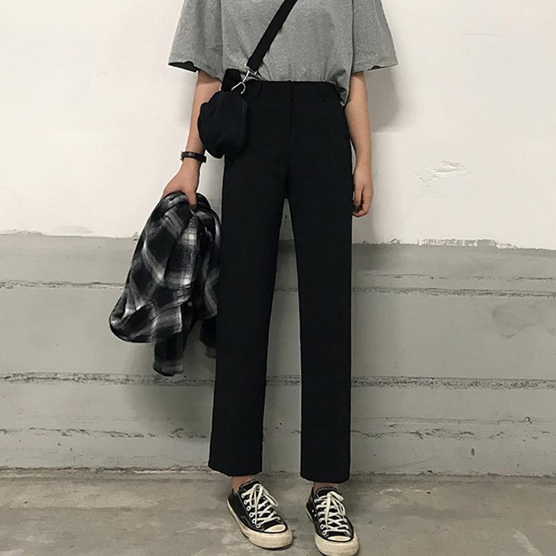 黑色休闲裤裤子女2019新款韩版百搭高腰九分裤宽松显瘦直筒裤西裤
