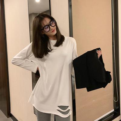 秋季2019新款韩版宽松破洞白色长袖T恤女中长款百搭打底衫上衣ins