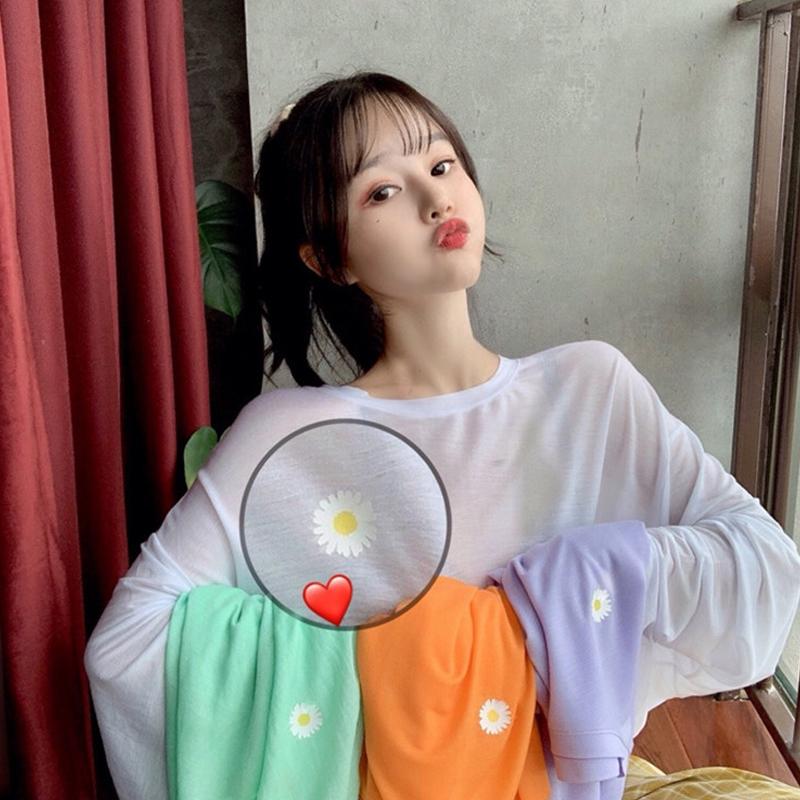 白色打底衫bm上衣夏季2020新款夏天防晒针织薄款小雏菊长袖T恤女图片