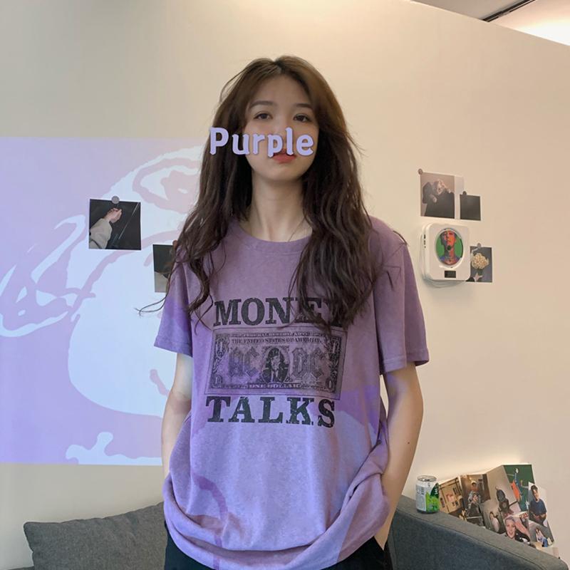 夏季2020新款韩版原宿风短袖T恤女宽松复古印花紫色打底衫bm上衣图片