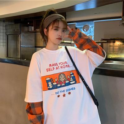 早春2020新款韓版下衣失蹤上衣趣味卡通印花寬松長袖T恤女潮學生