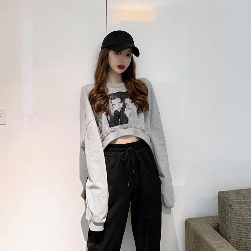 初秋套装女2019新款韩版宽松露脐短款卫衣+显瘦运动裤时尚两件套