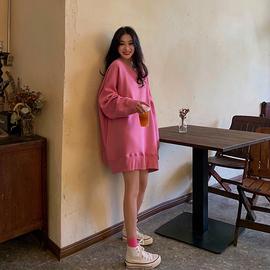 韩版oversize宽松粉色卫衣女2019新款秋装中长款BF慵懒风长袖上衣图片