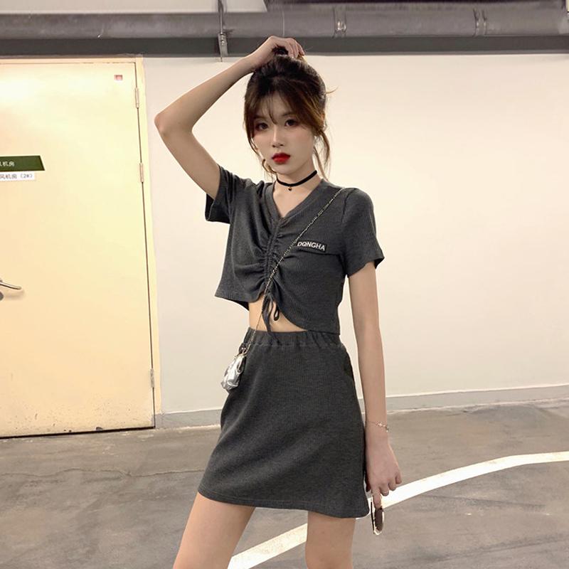 时尚套装女春季新款韩版抽绳刺绣短袖打底上衣高腰半身裙两件套潮