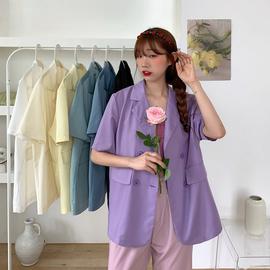 薄款小西装外套女春秋2020年新款韩版宽松中长款休闲西服紫色上衣图片