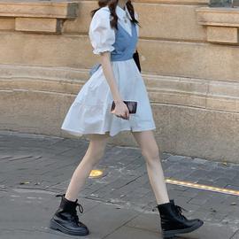 复古法式泡泡袖连衣裙女夏2020年新款气质显瘦牛仔吊带裙子两件套图片