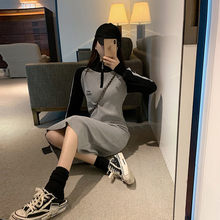 Semi-high collar and long sleeve knitted dress Autumn 2019 New long skirt Mid-spring and Autumn long skirt over knee