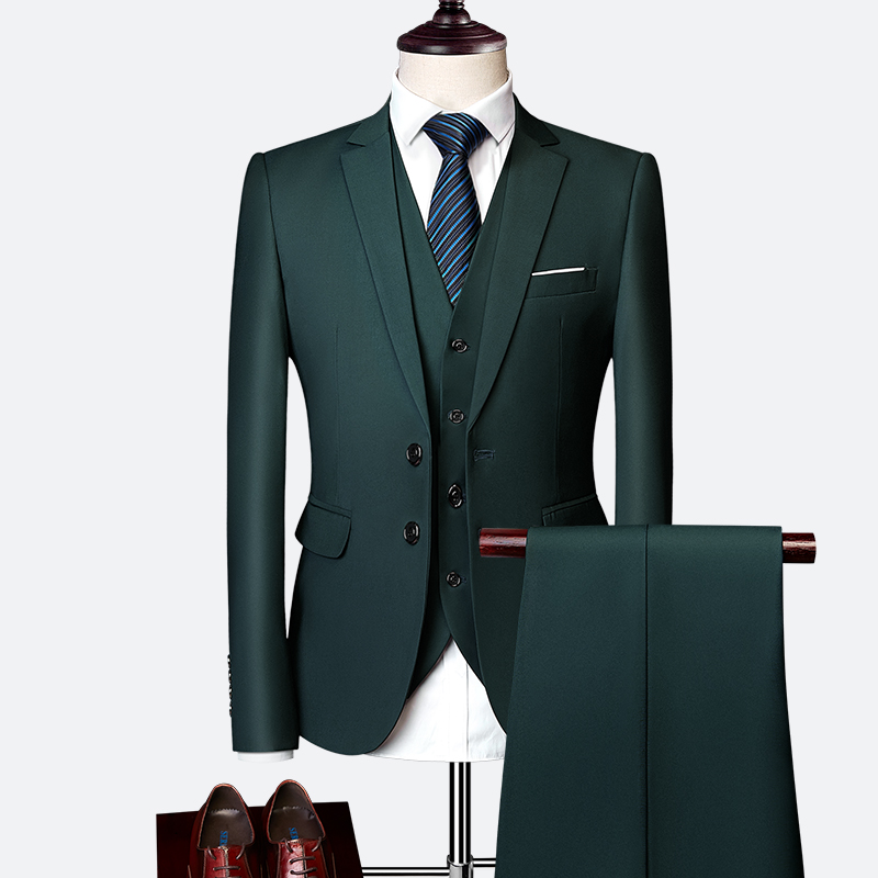 2021 spring and autumn new plus size mens casual suit three piece suit large size fat suit