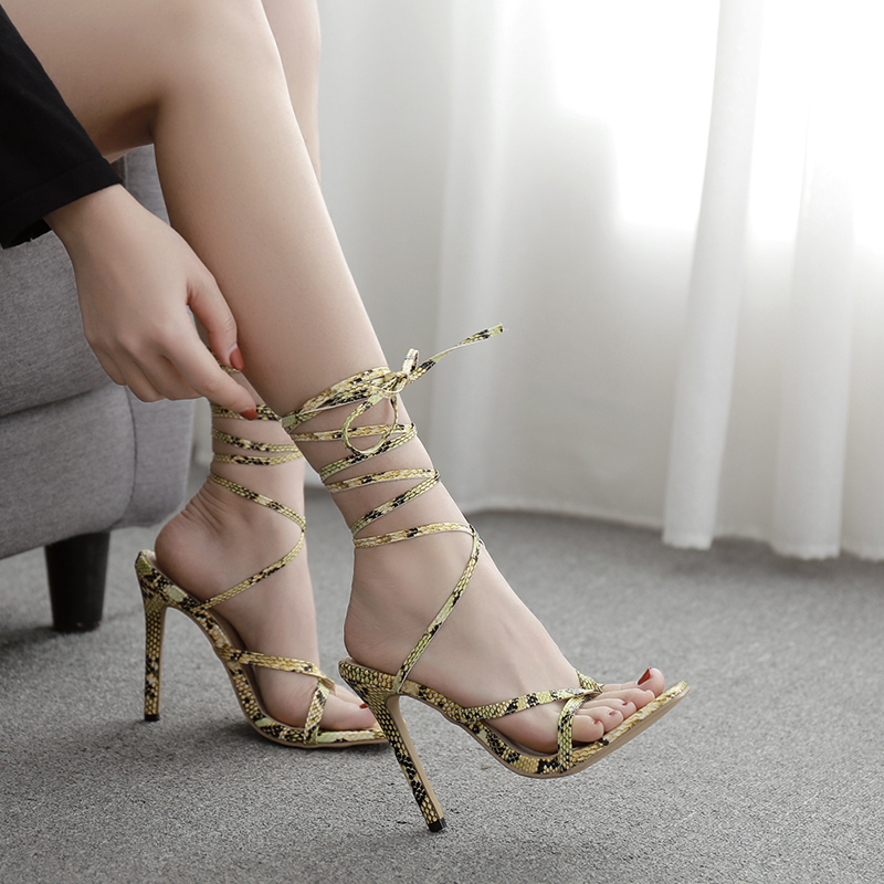 41 size multi strip snake ankle simple high heel sandals spring 2020 new Korean shallow 11cm fish mouth shoes