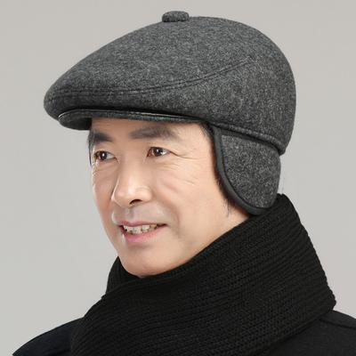冬天中老年人帽子爷爷爸爸老人帽男保暖护耳前进鸭舌帽老头春秋季