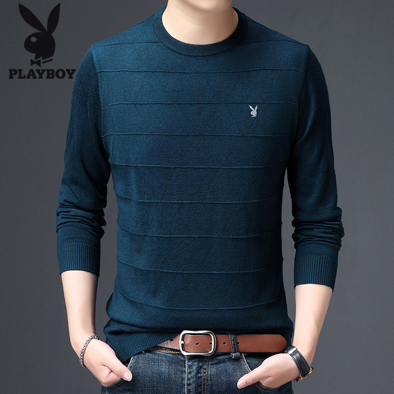 Playboy 2021 spring and autumn thin sweater mens round neck bottomed sweater young mens sweater long T-shirt