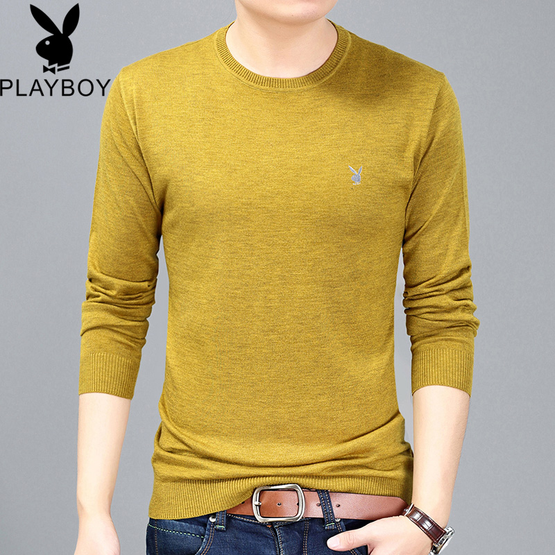 Playboy mens sweater round neck thin sweater solid color bottom sweater slim knit sweater