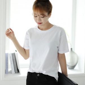 2017春裝新款韓版短袖t恤女圓領女裝大碼純棉純色體恤學生打底衫