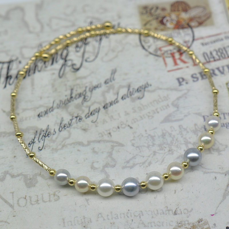 Akoya sea pearl imported from Japan 9 beads gradient adjustable elastic bracelet bracelet mirror nationwide package