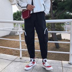 男士大口袋潮流裤子工装裤韩版九分裤港风束脚裤不低于78)K530P60