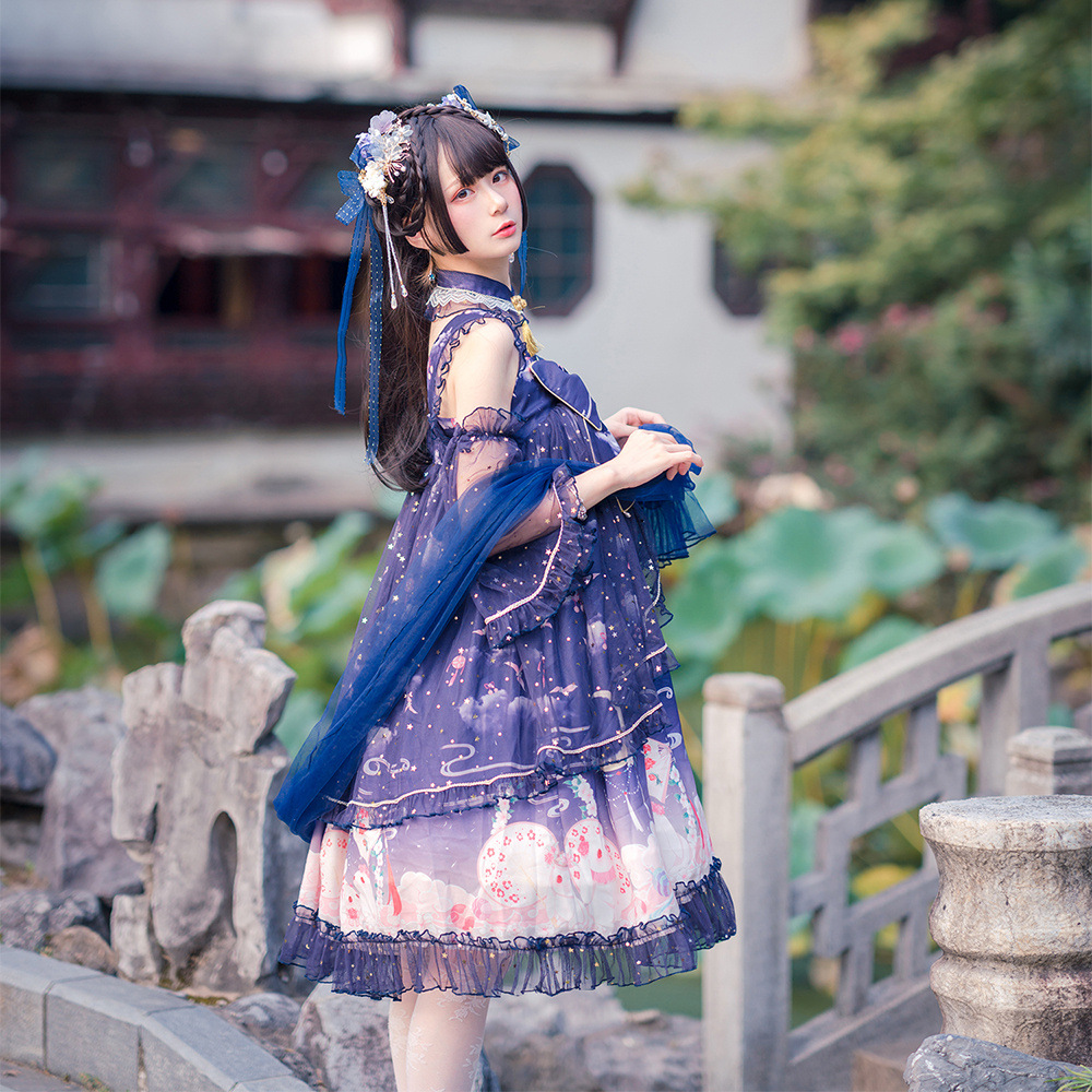 Original Lolita Guiyue rabbit jsk exquisite Chinese elements Lolita Dress Chinese classical lo