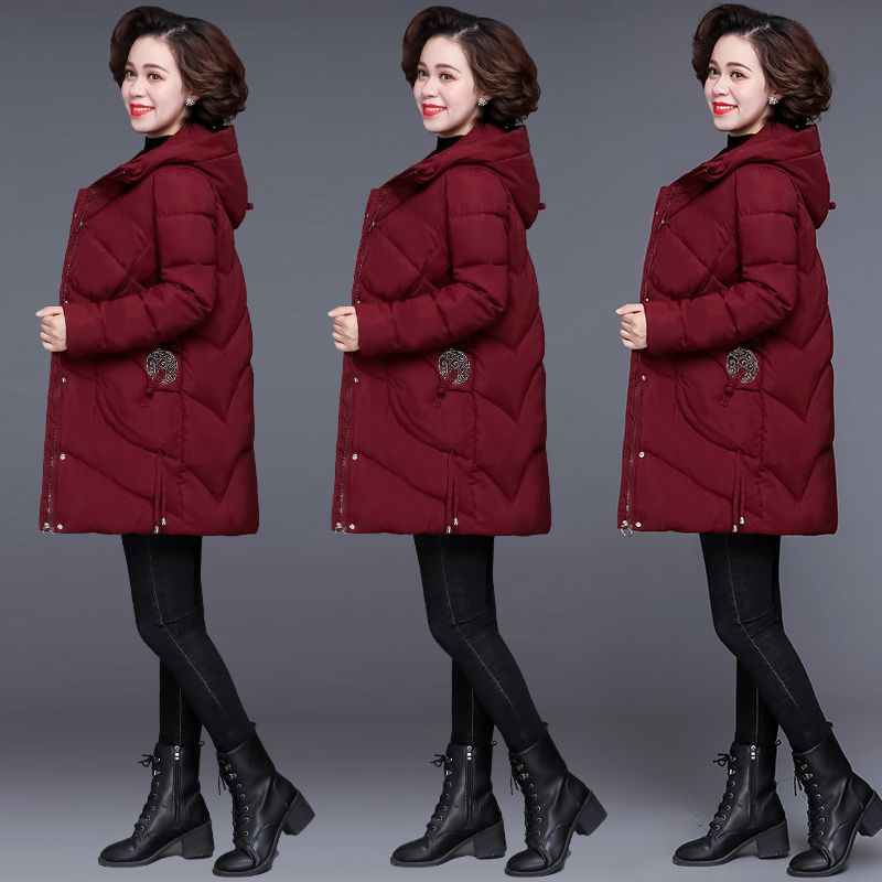 Mothers winter cotton padded jacket middle and long womens down cotton padded jacket 40 years old 50 years old middle aged foreign style cotton padded jacket