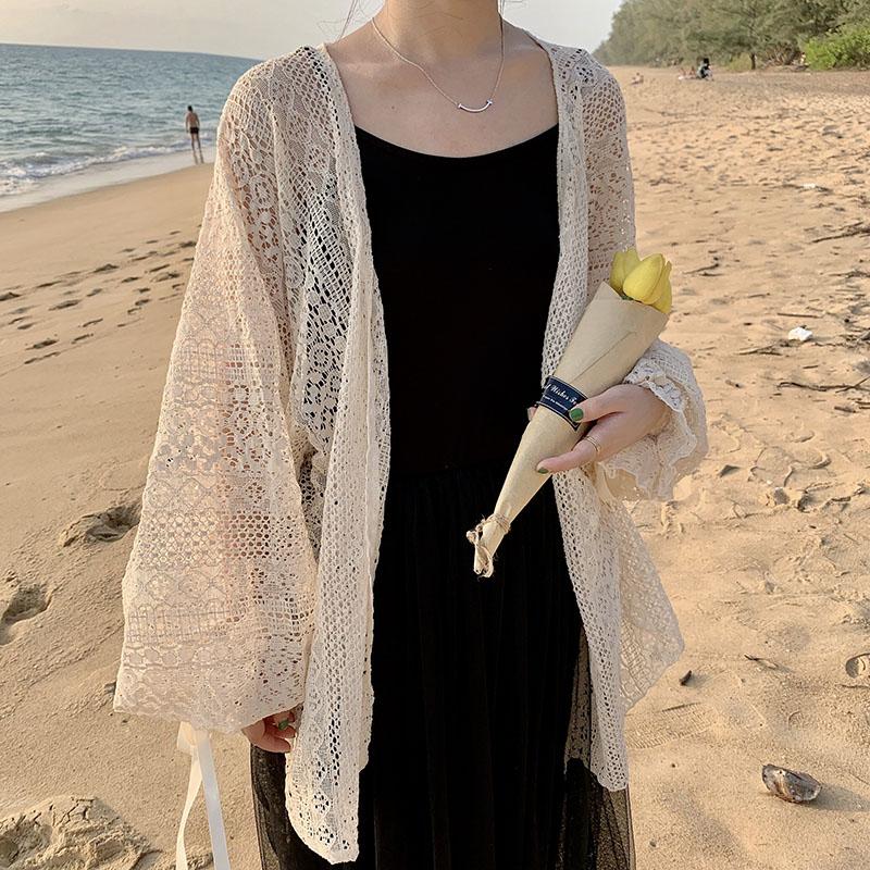 防晒衣外套女2019新款韩版时尚镂空百搭中长款蕾丝仙女开衫上衣潮