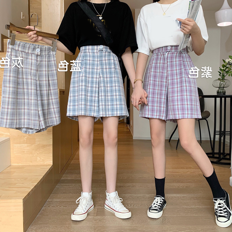 Plaid pants summer 2020 new Korean loose straight tube wide leg pants show thin, versatile casual pants womens shorts trend