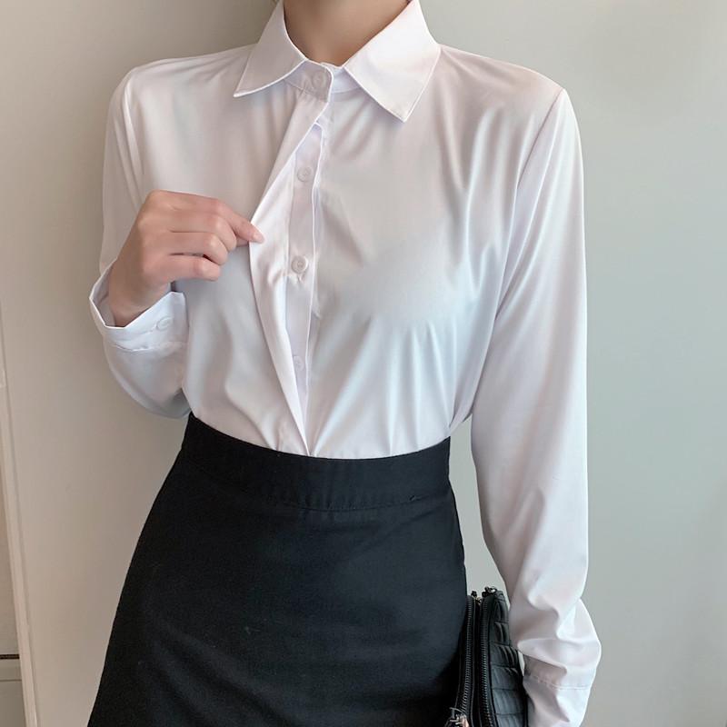 职业白衬衫女长袖女士工作服2020春季新款白色衬衣雪纺衫正装上衣
