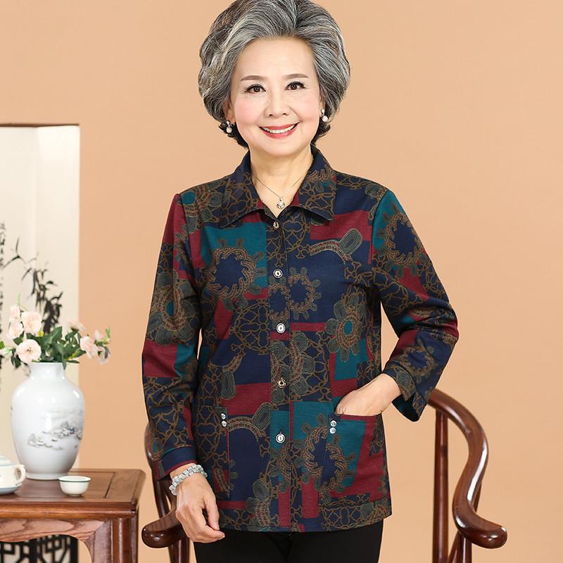 中老年女装妈妈装春装长袖外套60-70岁奶奶春秋衣服老年人女衬衫