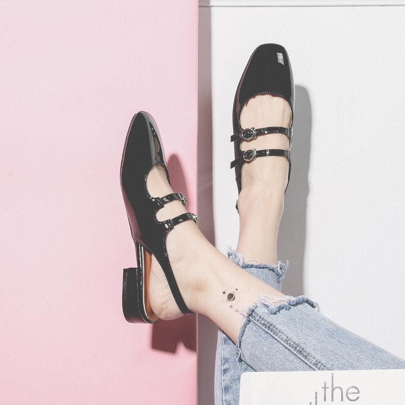 半曲包头单鞋女2020夏款凉鞋一字扣带玛丽珍鞋女复古平底镂空女鞋