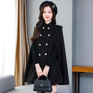 流行斗篷羊毛呢外套女中长款冬英伦风双排扣韩版宽松显瘦羊绒大衣