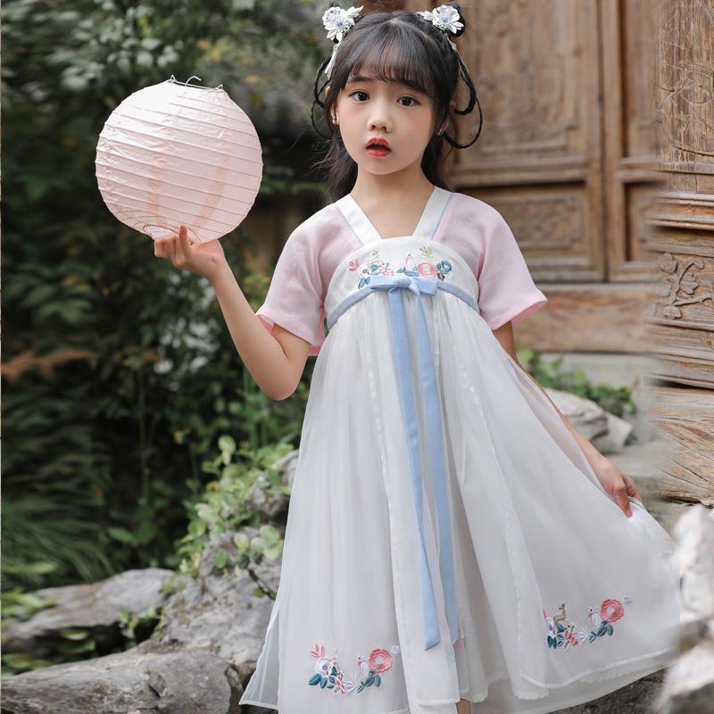 券后168.00元旗铂女童夏装儿童唐装复古仙女襦裙