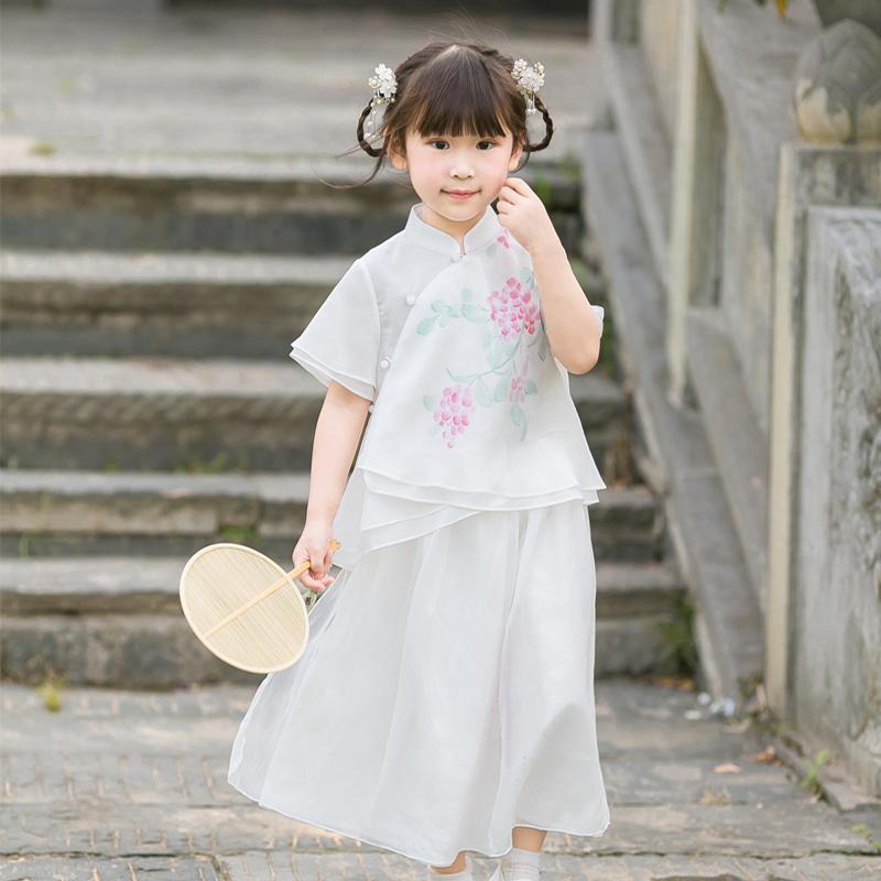 旗铂儿童汉服夏改良女童汉服复古小孩儒裙儿童唐装套装中国风童装