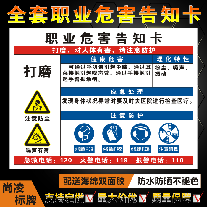 Polish the notice card of occupational hazards, the notice card of dangerous goods, the sign board and the warning board