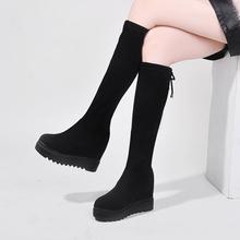 马靴女中筒靴2019新款厚底内增高小个子瘦瘦靴弹力靴高筒靴不过膝