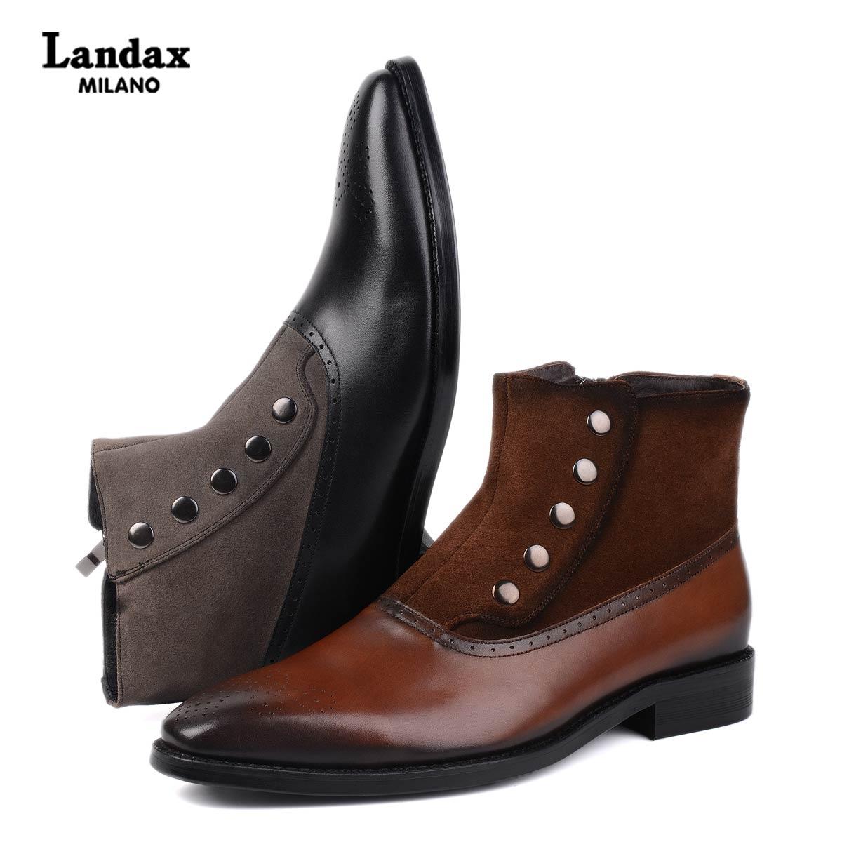 Landax秋季新款牛皮手工商务男靴英伦时尚布洛克短靴拉链切尔西靴