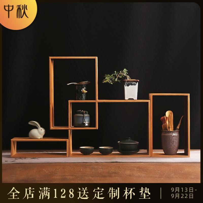 简约现代竹博古架盆景摆件茶具茶杯