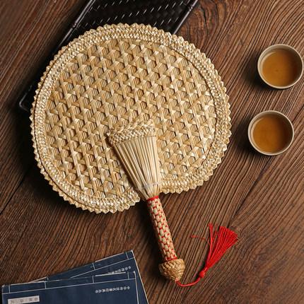 麦秸扇子手工编织老式大蒲扇芭蕉团扇草编夏季儿童随身古典中国风