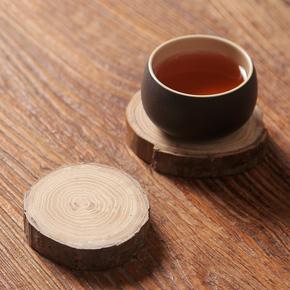 天然原木杯垫 实木日式圆形紫砂壶茶托 功夫茶具耐热茶盘木质配件