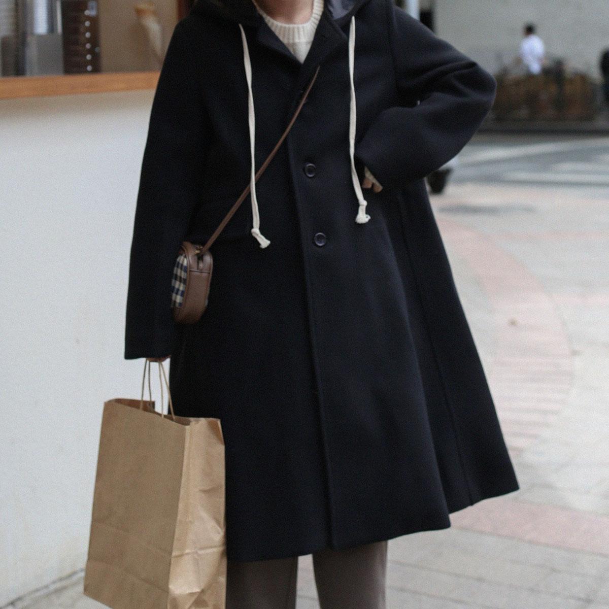 三木社/自制连帽呢大衣A字版型中长款毛呢外套女黑色日系学院风冬