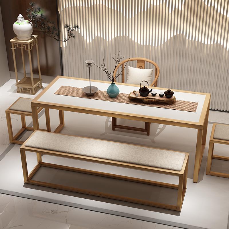 功夫茶桌椅组合套装实木简约现代新中式茶台禅意铁艺家用泡茶桌