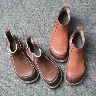 韩版时尚擦色小短靴复古春秋潮流圆头一脚蹬低跟女鞋休闲文艺女靴