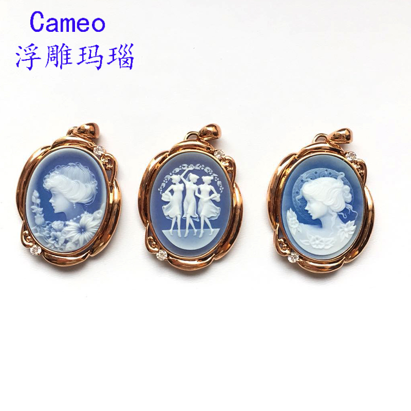 Cameo agate, Cameo Antique Jewelry, beidiao color gem, beauty Pendant Necklace