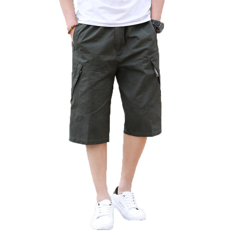 夏季七分裤男宽松薄款休闲裤加肥加大码拉链口袋短裤直筒新款男裤