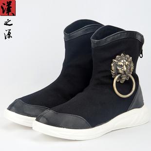 中国风狮子头高帮鞋复古中式官靴秋冬中筒男靴帆布古风马丁靴潮鞋