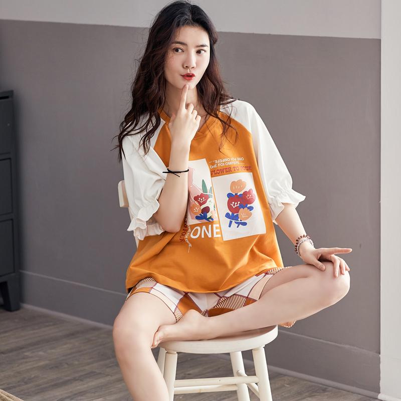 韩版甜美可外穿两件套家居服套装