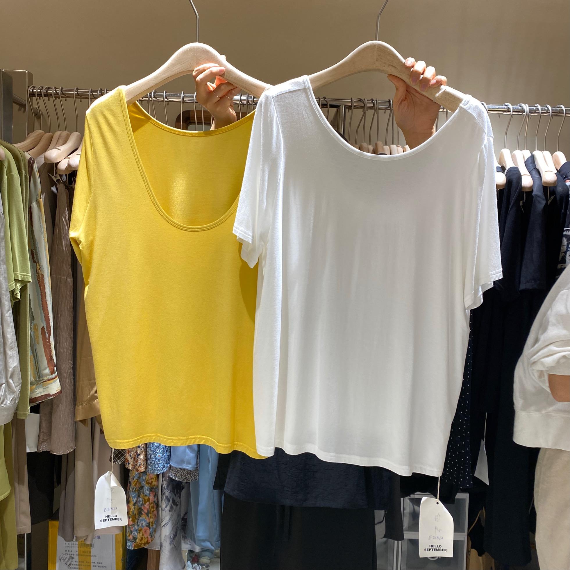 hello september韩国夏季圆领露背心机性感纯色莫代尔T恤上衣女
