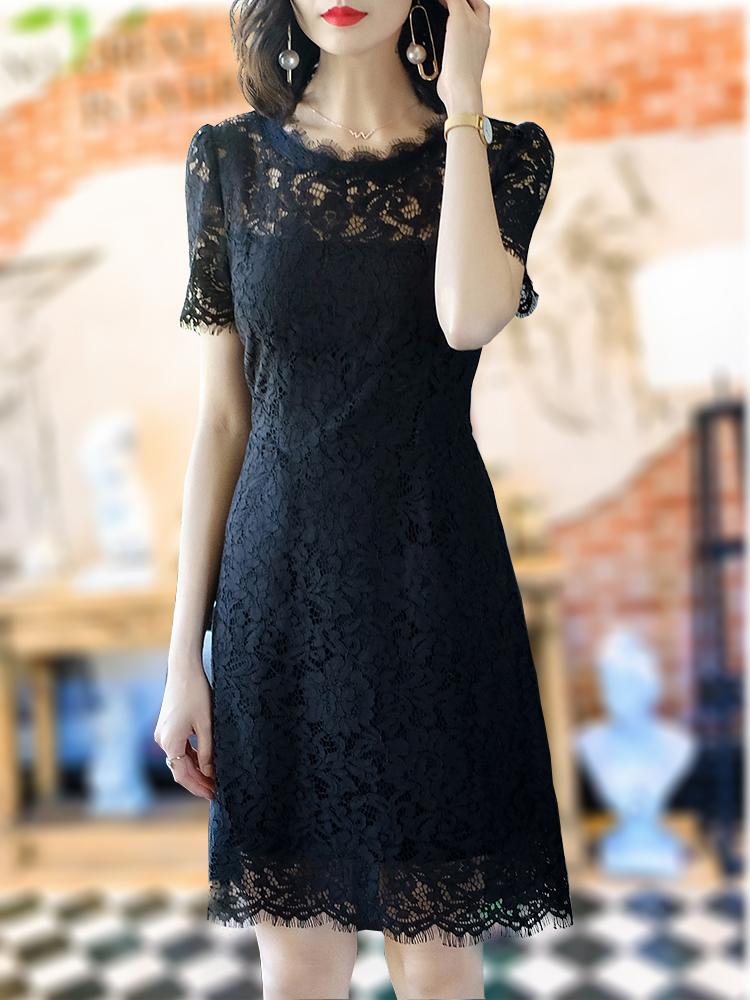 有女人味的蕾丝连衣裙高端气质显瘦遮肚子中长款大牌镂空优雅裙子
