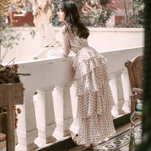維多利亞復古裙燈籠袖波點法國小眾連衣裙度假沙灘仙女長裙禮服女