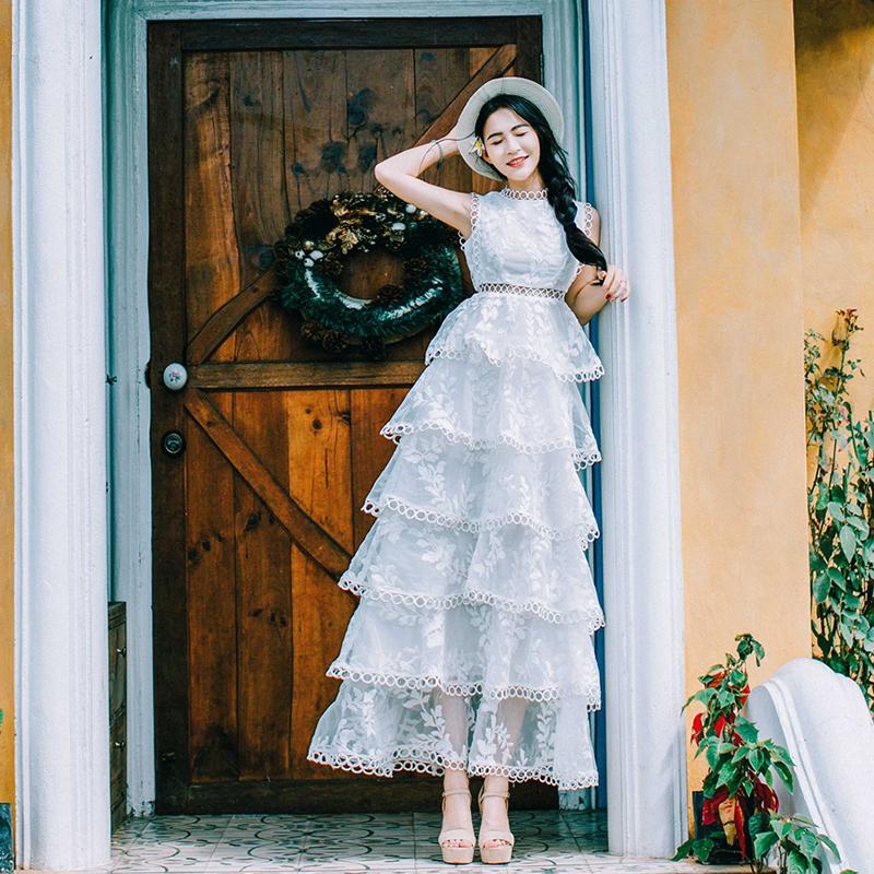夏季新款欧根纱蕾丝连衣裙夏女装小仙女学生蛋糕蓬蓬长裙仙气