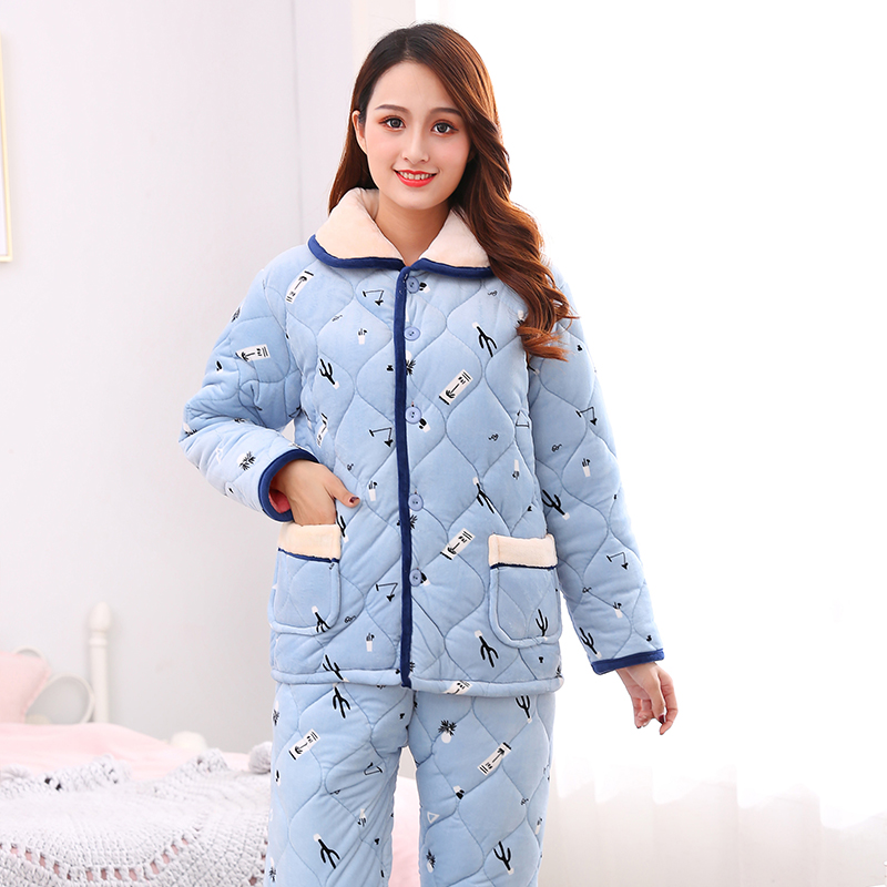 Womens winter pajamas three layers of thickened warm coral velvet with cotton flannel student girls home wear
