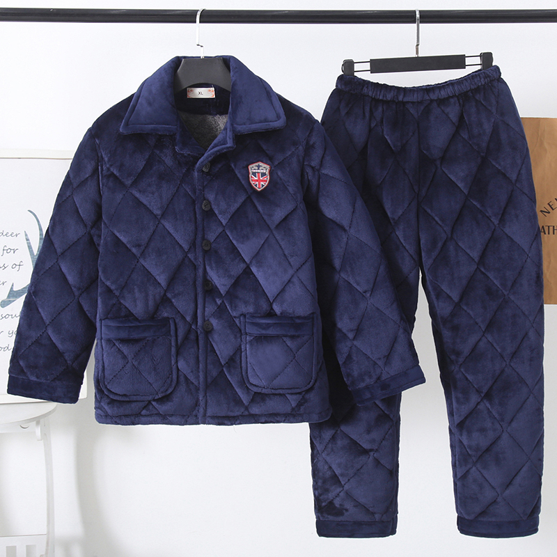Winter mens cotton pajamas thickened three-layer warm cotton jacket coral flannel dads home suit