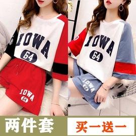 两件套网红小清新运动风t恤套装女夏装休闲ins潮纯棉短袖上衣短裤图片